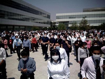 Mexiko-Stadt: Menschen mit Schutzmasken