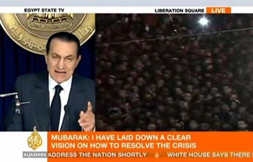 Al-Jazeera-Split-Screen: Mubarak-Rede, Menschenmenge in Kairo