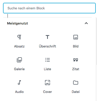 Screenshot von der Suchfunktion für Blocktypen im Gutenberg-Editor