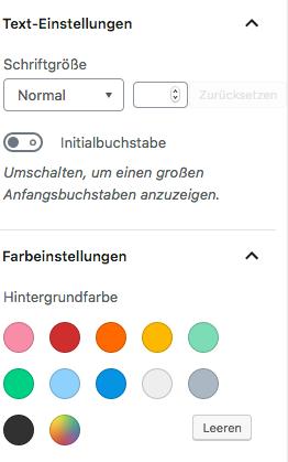Screenshot von den Einstellungen in der Seitenleiste bei der Bearbeitung eines Absatzblocks: Schriftgröße und Hintergrundfarbe