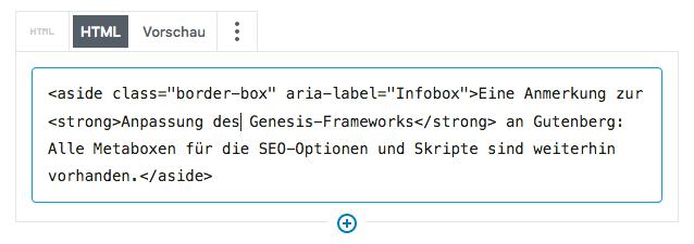 Screenshot vom Html-Block samt eingegebenem Code