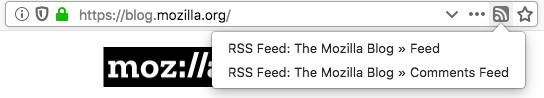 Screenshot von der Firefox-Adressleiste mit RSS-Icon und einem Menü, das vorhandene Feeds eines Blogs anzeigt.