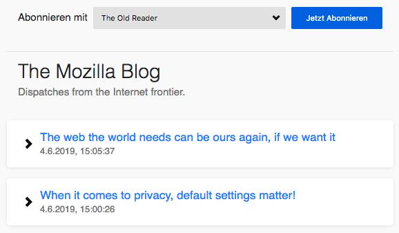 Screenshot von der RSS-Vorschauseite mit einem Menü, das eine Auswahl von Feed-Readern erlaubt, und einer Liste der Beiträge.