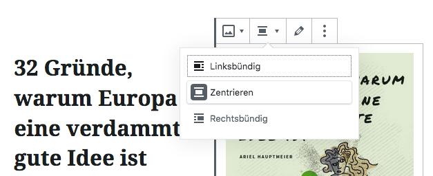 """Screenshot von der Bearbeitung eines Bildblocks innerhalb des Spaltenblocks: Aufwahl der Option """"Zentrieren""""."""