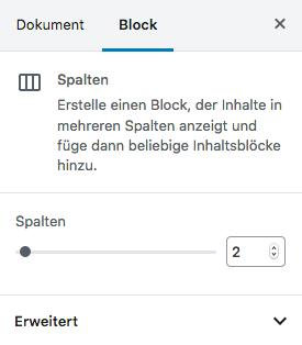 Screenshot von den Optionen des Spaltenblocks in der Gutenberg-Seitenleiste: zwei Spalten sind Grundeinstellung.
