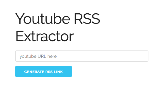 Eingabefeld der Website YouTube RSS Extractor.