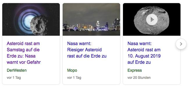 """Screenshot Google-Suche:  Reißerische Nachrichten mit dem Teaser """"Asteroid rast auf die Erde zu""""."""